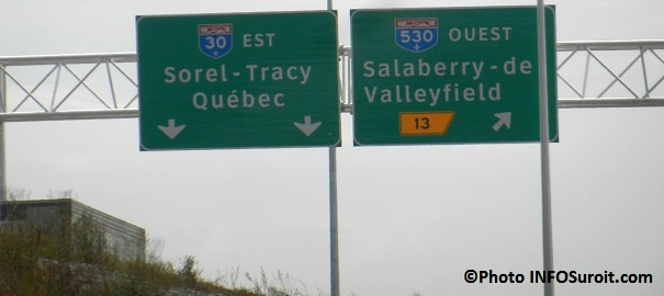 Panneau-signalisation-Autoroute-30-vers-Sorel-Tracy-Sortie-13-Valleyfield-Photo-INFOSuroit-com_