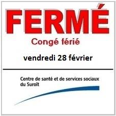 CSSS-du-Suroit-ferme-conge-ferie-28-fevrier-CSSSduSuroit-logo-publie-par-INFOSuroit_com