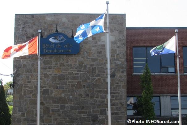 Hotel de ville Beauharnois avec drapeaux Photo INFOSuroit_com