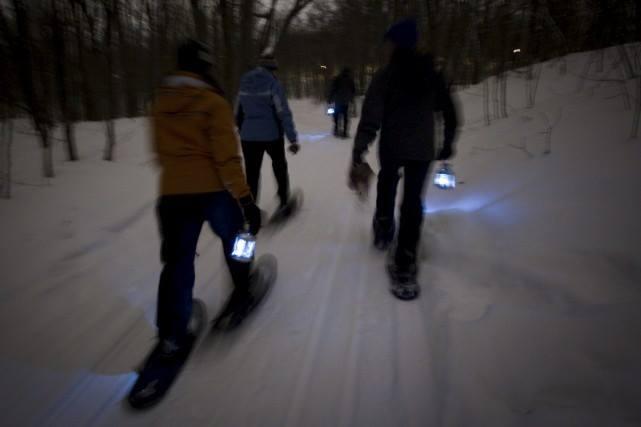 Sentiers de L Escapade du mont Rigaud hiver randonnee nocturne en raquettes Photo courtoisie
