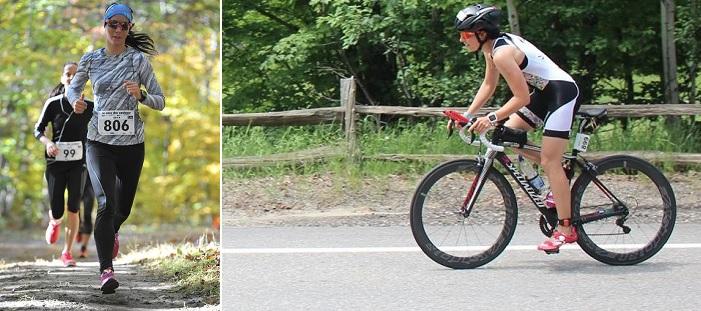 Emilie_Brisson triathlete en course a pied et velo Photos courtoisie Zel