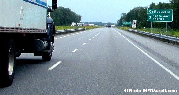 A30 a Chateauguay autoroute 30 circulation camion Photo INFOSuroit