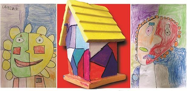 Expo A la maniere de Picasso trois oeuvres eleves ecole St-Urbain Images courtoisie