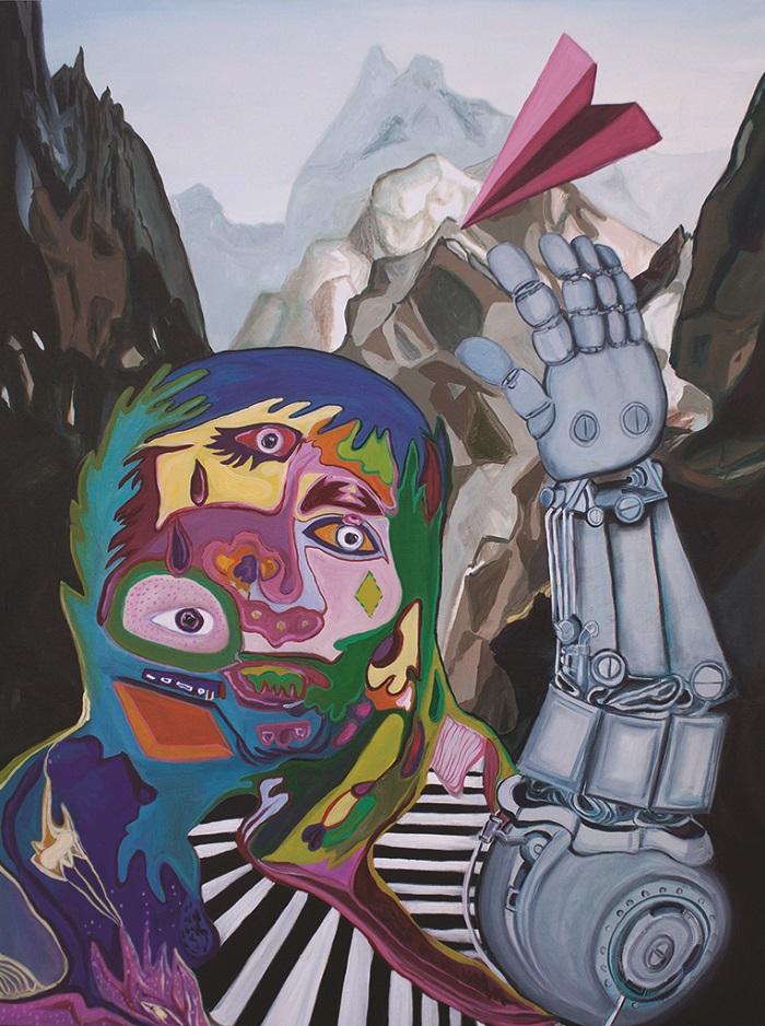 Oeuvre Abstraction romantique Christine LeBlanc photo courtoisie