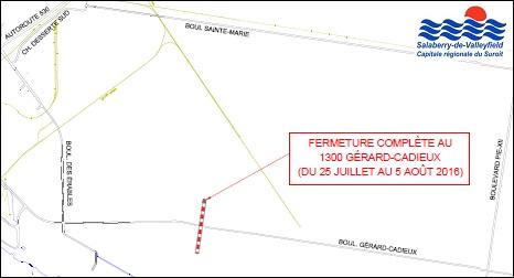 Plan fermeture boulevard Gerard-Cadieux Valleyfield 25 juillet 2016 Image courtoisie Ville Valleyfield