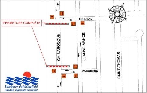 fermeture chemin Larocque a Valleyfield carte courtoisie Ville Valleyfield