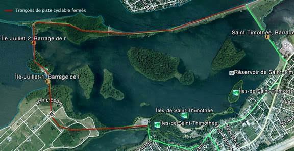 Carte de la fermeture temporaire de la piste cyclable sur les barrages de Juillet photo courtoisie