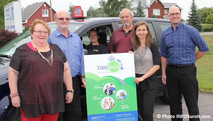 devoilement projet taxibus L Montpetit F Landreville J Giroux M Laberge et P Laplante photo INFOSuroit