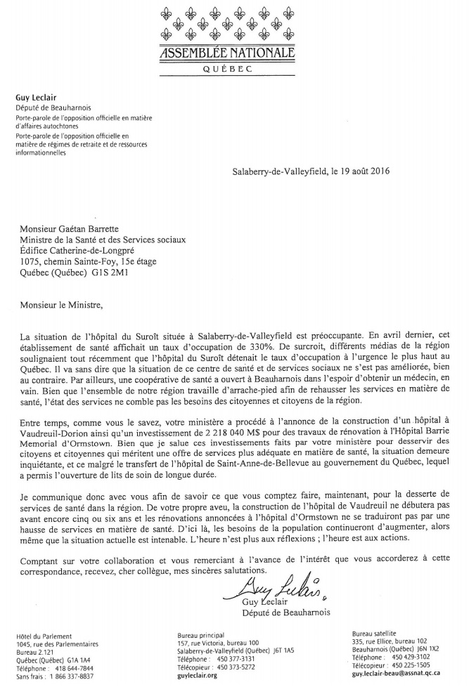 lettre de GuyLeclair au ministre GaetanBarrette