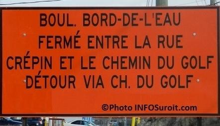travaux panneau fermeture boulevard Bord-de-l_eau Valleyfield Photo INFOSuroit