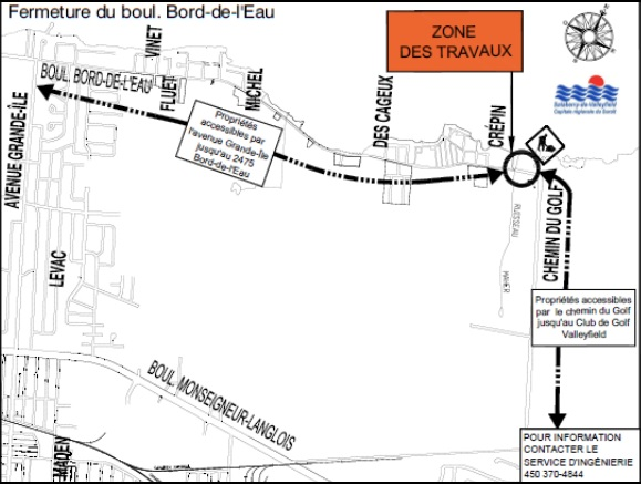 zone travaux 16 aout 2016 a Valleyfield carte via Ville Valleyfield