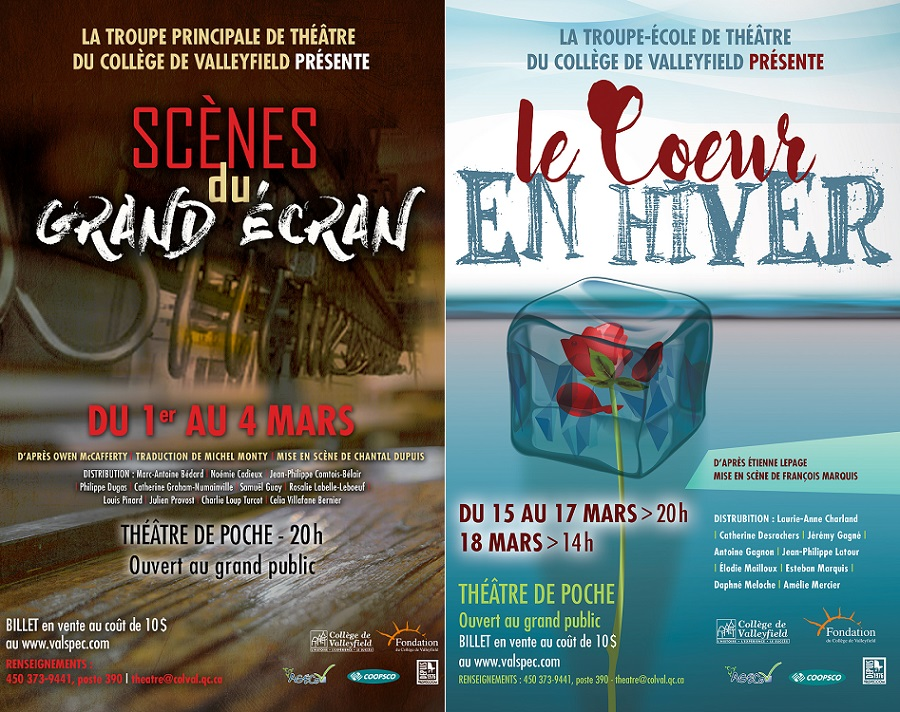 Affiches 2017 theatre Troupe principale et troupe ecole College Valleyfield