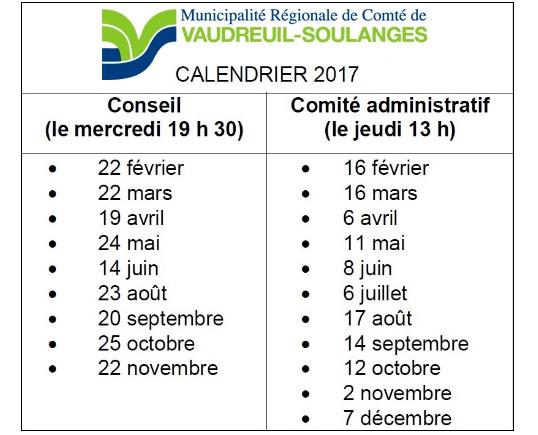 calendrier seances 2017 MRC Vaudreuil-Soulanges