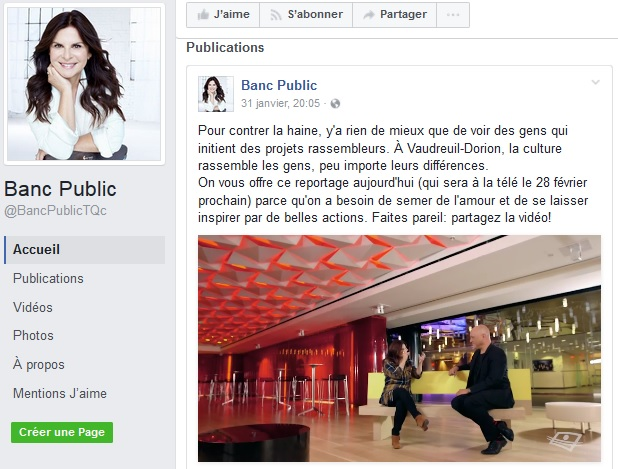 extrait page Facebook BancPublic avec MichelVallee Courtoisie Ville Vaudreuil-Dorion