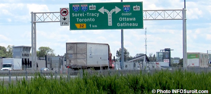 autoroute 40 panneau A20 A30 401 417 camion Photo INFOSuroit