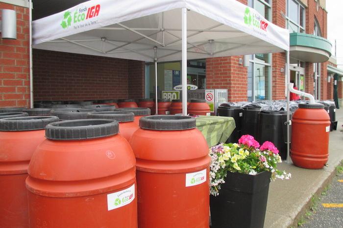 barils eau de pluie et composteurs fonds Eco Iga via Jour de la Terre