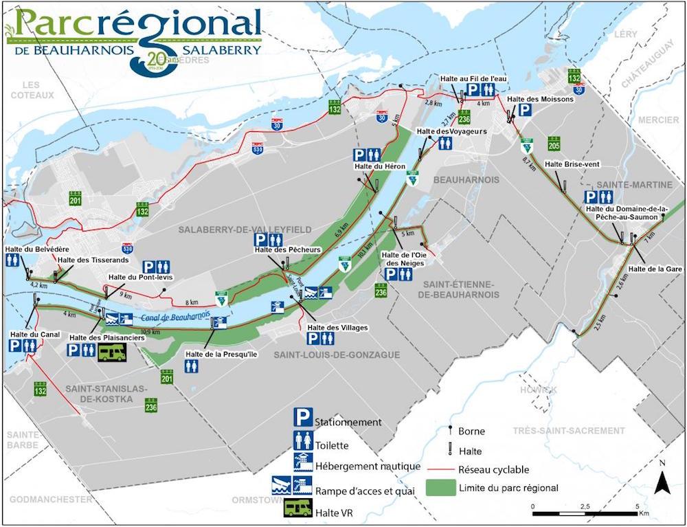 carte ParcRegional Beauharnois-Salaberry haltes stationnements et toilettes