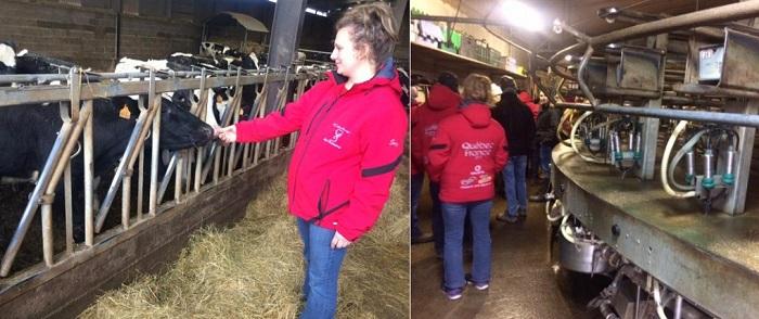 etudiante CFP_des_Moissons en France sur ferme avec vaches et visite ferme Photos courtoisie CSVT
