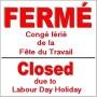 Horaire des CSSS du Haut-Saint-Laurent et du Suroît pour la Fête du travail