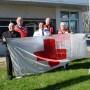 Le drapeau de la Croix-Rouge à la caserne de pompiers de Châteauguay