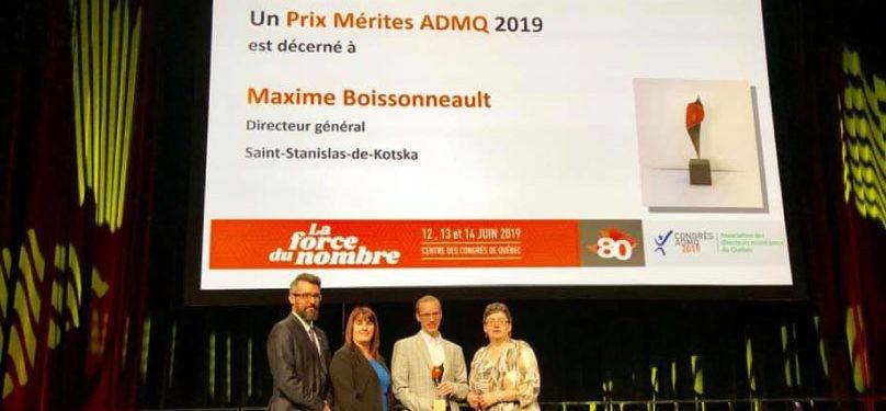 Distinction provinciale pour Maxime Boissonneault, DG de Saint-Stanislas-de-Kostka