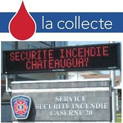 Hema-Quebec Collecte de sang logo et Caserne de pompiers Ville de Chateauguay