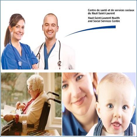 Medecins-personne-agee-fauteuil-roulant-infirmiere-et-enfant-logo-CSSS-du-Haut-Saint-Laurent-Image-courtoisie-publiee-par-INFOSuroit-com_