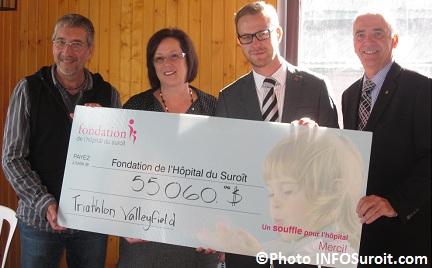 Luc Girard, Francine Bourdeau, Hugo Desrosiers avec Gilles Marois Photo INFOSuroit-com_