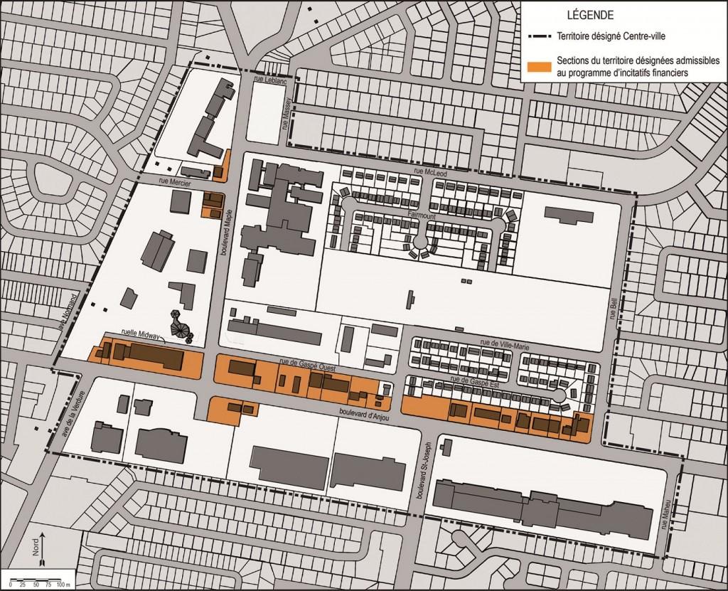 Centre-ville-Orange-zone-des-incitatifs-Carte-courtoisie-Ville-de-Chateauguay-publiee-par-INFOSuroit