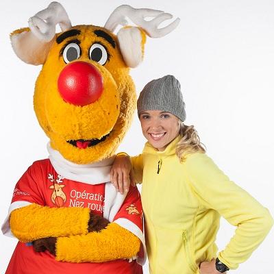 Nez-Rouge et la championne Dominique Maltais Photo courtoisie
