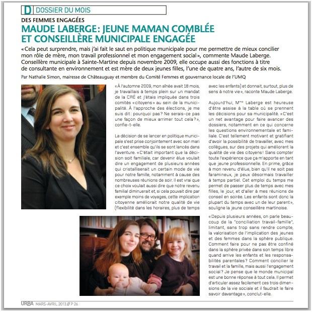 Extrait-magazine-URBA-Dossier-femmes-engagees-Maude_Laberge-conseillere-Ste-Martine