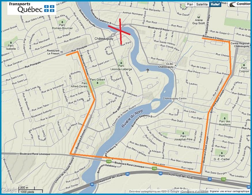Capture-ecran-Transports-Qc-carte-Google-Chateauguay-fermeture-pont-Arthur-Laberge-Ajouts-Detours-INFOSuroit