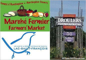 Marche-Fermier-comte-Huntingdon-Amis-reserve-de-faune-lac-St-Francois-logos-et-Droulers-Photo-INFOSuroit
