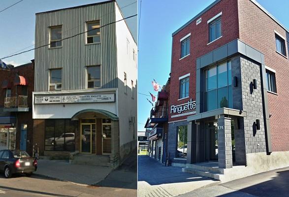 Renovation-facades-commerciales-a-Valleyfield-Bureaux-Ringuette-avant-et-apres-Photo-SDV