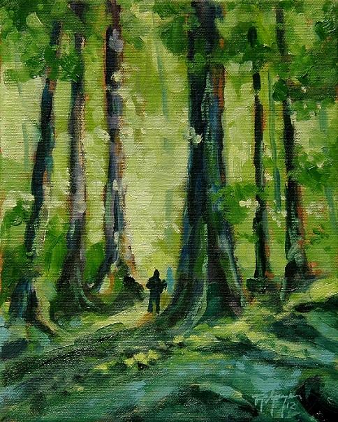 Oeuvre-de-Robert_Gougeon-artiste-peintre-Un-marcheur-dans-les-bois-Photo-courtoisie-MRC