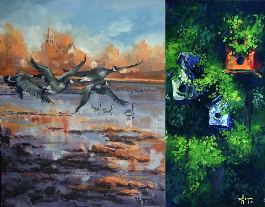 Oeuvres-artiste-peintre-Robert_Gougeon-bernaches-avec-eglise-et-cabanes-a-oiseaux-Photos-courtoisie-MRC-BHS