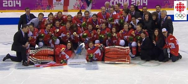 Hockey-feminin-Equipe-Canada-Medailles-d-or-a-Sotchi-Extrait-tele-Radio-Canada-publie-par-INFOSuroit
