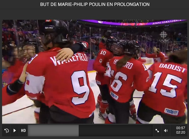 Hockey-feminin-Sotchi-Gain-Canada-3-2-But-en-prolongation-et-joie-des-athletes-canadiennes-Extrait-Radio-Canada
