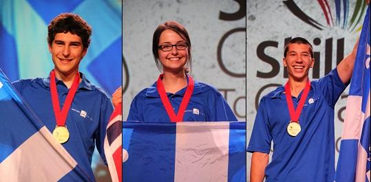 Olympiades-canadiennes-des-Metiers-et-des-technologies-C_Bouvrette-V_Bouchard-et-J_Gouin_Labbe-medailles-or-photos-courtoisies-publiees-par-INFOSuroit_com