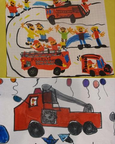Journee-des-pompiers-concours-dessins-gagnants-de-Julien_LordBarrett-et-Leah_Millette-Photos-courtoisie-Pincourt