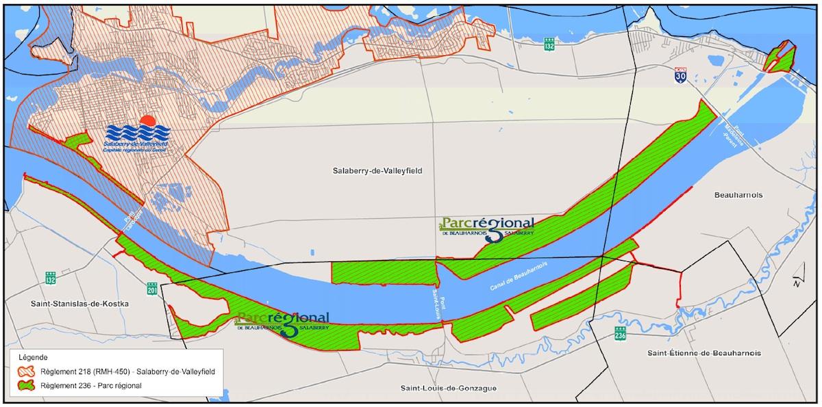 Carte interdiction de chasse Valleyfield et Parc regional de Beauharnois-Salaberry Courtoisie MRC