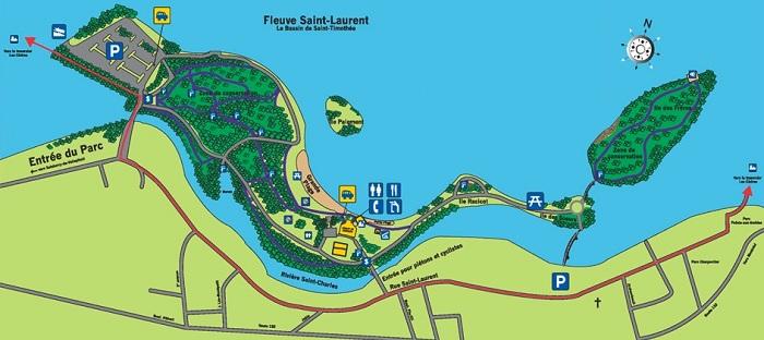 carte du Parc regional des iles de Saint-Timothee adaptee pour A la Une sur INFOSuroit_com