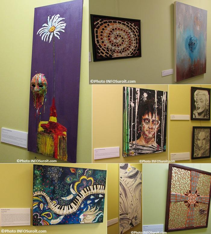 oeuvres tableaux de jeunes artistes exposition Vocation en Art au CJE Beauharnois-Salaberry Photos INFOSuroit