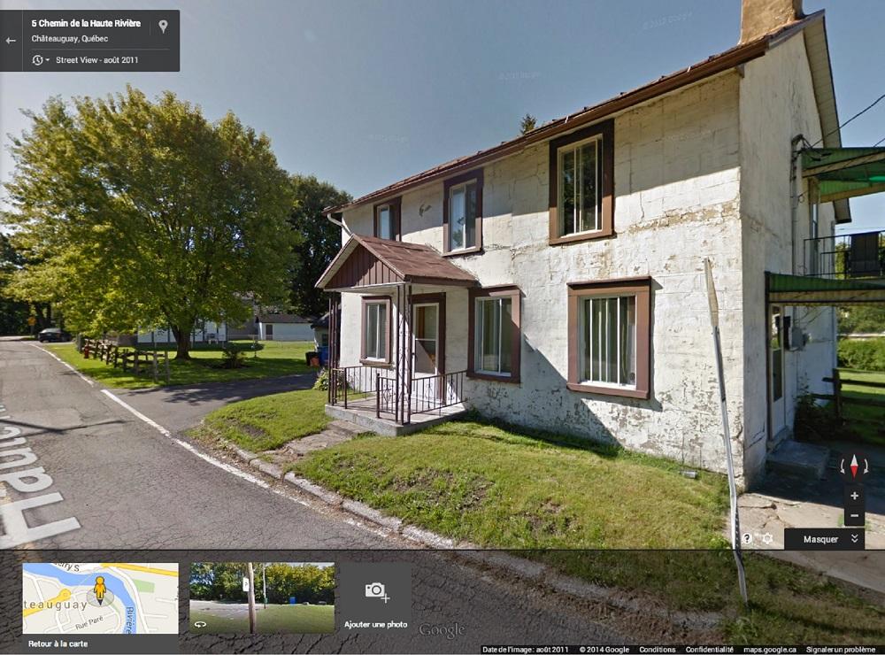Capture ecran Google Street View maison Moise-Pregent Chateauguay 5 chemin de la Haute-Riviere Copyright Google Maps et Google View