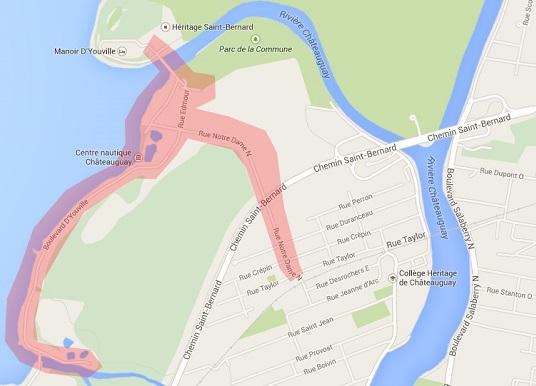 avis ebullition de l eau Chateauguay secteur en rouge Carte courtoisie ville de Chateauguay