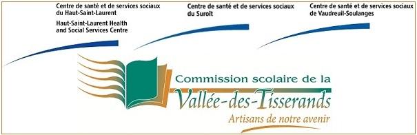CSSS du Haut-Saint-Laurent du Suroit et de Vaudreuil-Soulanges plus commission scolaire Vallee-des-Tisserands logos
