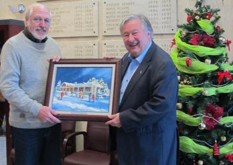 Carte de Noel Valleyfield tableau de artiste Robert_Gougeon avec maire Denis_Lapointe Photo courtoisie SDV