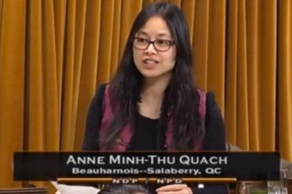 Anne_Quach deputee Beauharnois-Salaberry a la Chambre des Communes fevrier 2015 Extrait YouTube