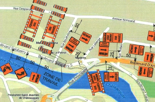 Carte-fermeture-boulevard-Salaberry-Sud-Chateauguay-photo-courtoisie-publiee-par-INFOSuroit_com