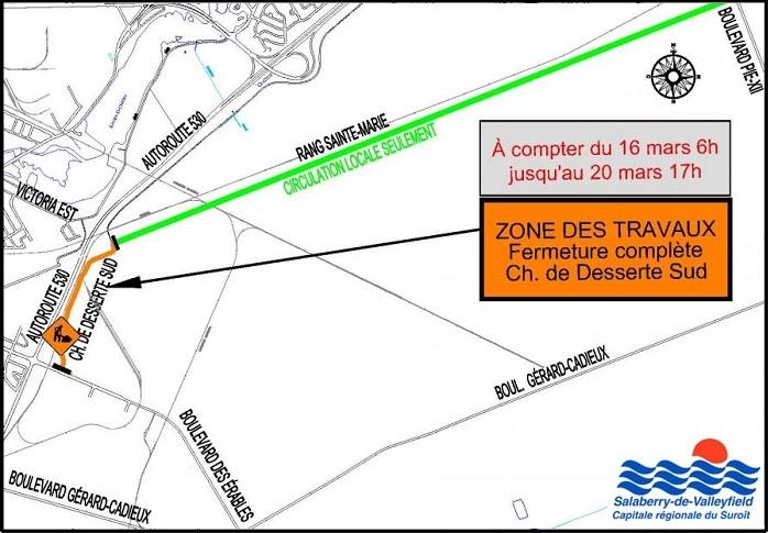 Plan travaux 2015 a Valleyfield chemin desserte Sud Image courtoisie